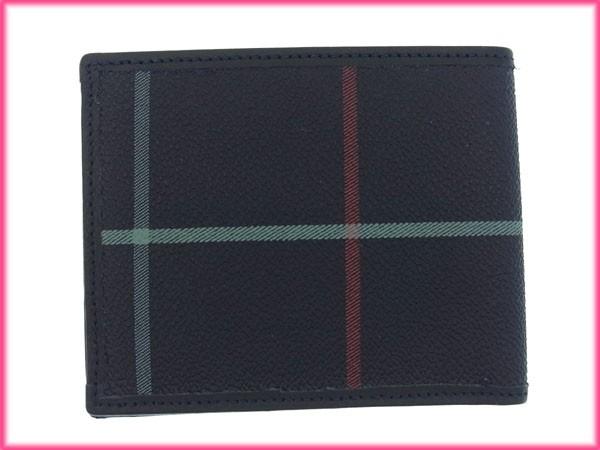 バーバリー 財布 BURBERRY 二つ折り札入れ クリアポケット付き ネイビー系×ブラック (人気・良品) 【中古】 X5387