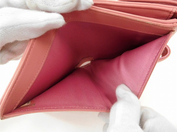 シャネル 財布 CHANEL 二つ折り財布 Wホック財布 14番台 ピンク 送料無料 即納 【中古】 X14893