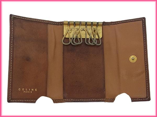 セリーヌ 財布 CELINE 二つ折り財布 がま口財布 2点セット ブラウン×ライトブラウン 人気 激安 【中古】 X6180