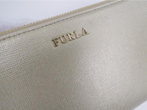 フルラ 財布 FURLA 長財布 ラウンドファスナー財布 ゴールド 良品 即納 【中古】 X12083