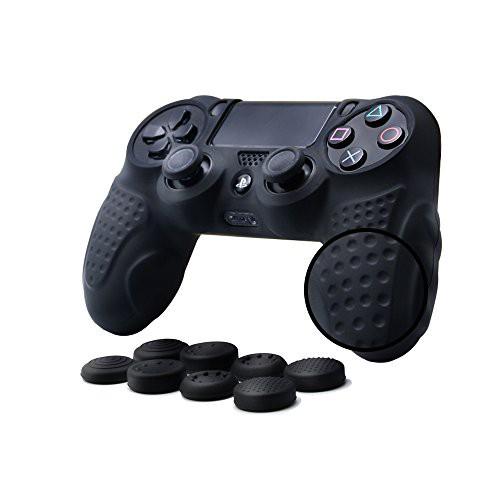 CHINFAI PS4コントローラー カバー 滑り止め シリコン素材 ソフトスキンケース 耐衝撃保護カバー x 1+スティックカバー x 8 (黒)