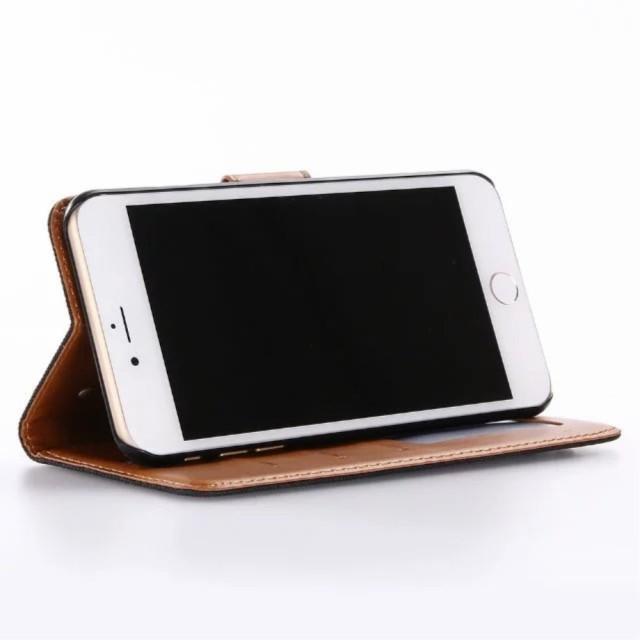 iPhone 7 Plus レザーケース ブラック 強化ガラス保護フィルム付き スマホケース  アイフォン7 プラス iPhone 7 Plus ケース 手帳 iPhone
