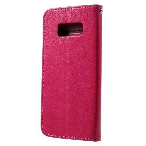 Galaxy S8 レザーケース ローズ 液晶保護フィルム付き ギャラクシーS8 カバー 手帳型スタンド機能 ICカードスロット 札入れ