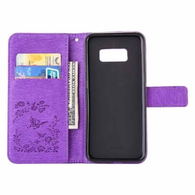 Galaxy S8 レザーケース パープル 液晶保護フィルム付き スマホケース  ギャラクシーS8 カバー 手帳型スタンド機能 ICカードスロット 札