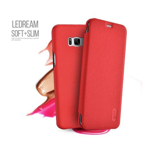 Galaxy S8 Plus レザーケース レッド 液晶保護フィルム付き ギャラクシーS8 プラス カバー 手帳型 ICカードスロット