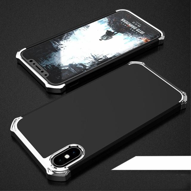 iPhone X ハードケース ブラック/シルバー 強化ガラス保護フィルム付き スマホケース  アイフォン X 背面型超薄軽量