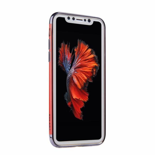 iPhone X ハードケース ブラック 強化ガラス保護フィルム付き アイフォン X 背面型 超薄軽量