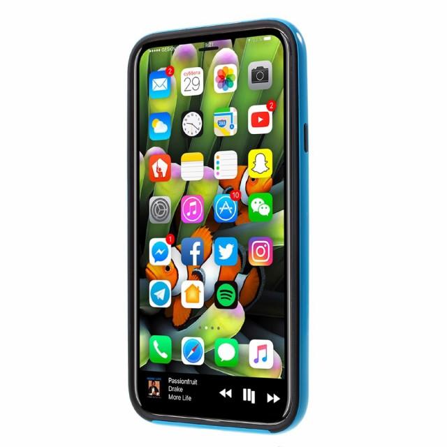 iPhone X ハードケース ベイビーブルー 強化ガラス保護フィルム付き スマホケース  アイフォン X 背面型 超薄軽量