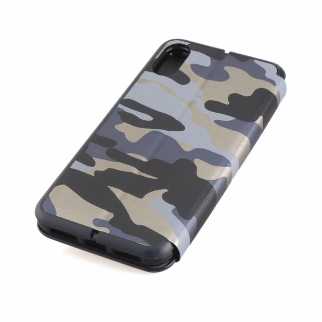 iPhone X レザーケース ブルー 強化ガラス保護フィルム付き アイフォン X カバー 手帳型 スタンド機能 ICカードスロット