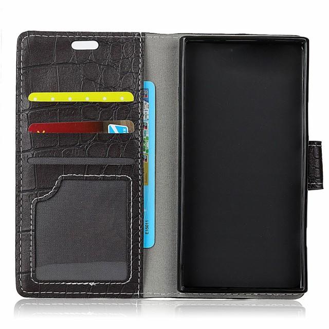 Xperia XZ1 Compact SO-02K レザーケース ブラック 液晶保護フィルム付き スマホケース  エクスペリア XZ1コンパクト カバー 手帳型スタ