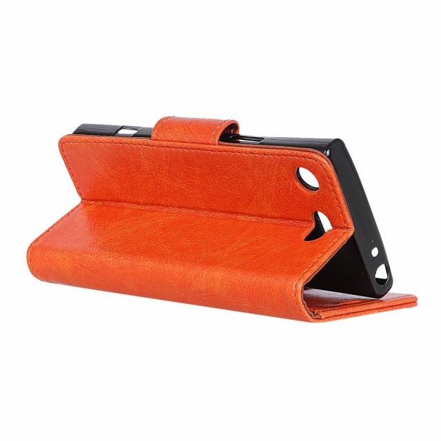 Xperia XZ1 Compact SO-02K レザーケース オレンジ 液晶保護フィルム付き スマホケース  エクスペリア XZ1コンパクト カバー 手帳型スタ
