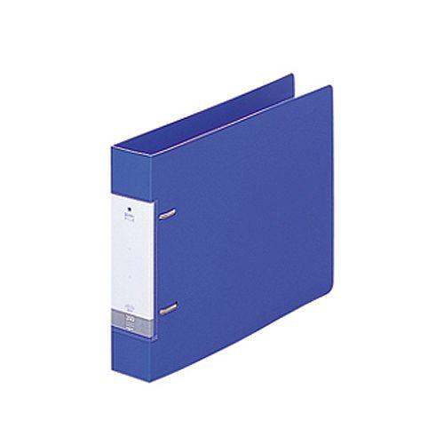 LIHIT LAB リクエスト D型リングファイル B5ヨコ 2穴 350枚収容 35mmとじ 背幅46mm 青 1冊