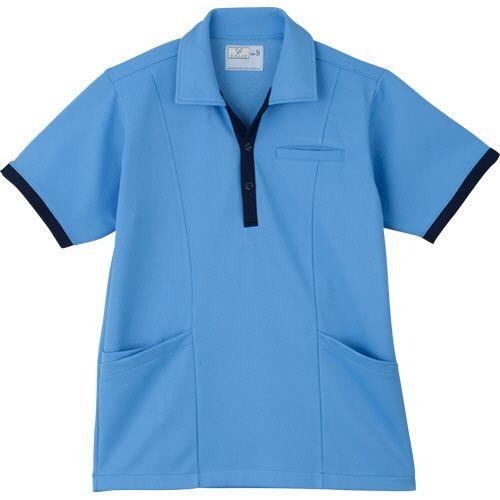 トンボ ケアワークシャツ リップル防縮ニット ブルー S 1着【キャッシュレス5%還元】