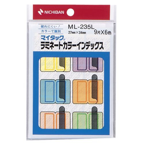 NICHIBAN マイタック ラミネートカラーインデックス 保護フィルム付 大 27×34mm 6色 1パック(54片:...