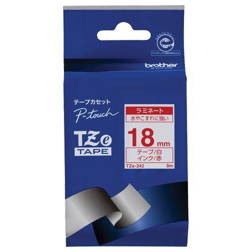 ブラザー ピータッチ TZeテープ ラミネートテープ 18mm 白/赤文字 1個