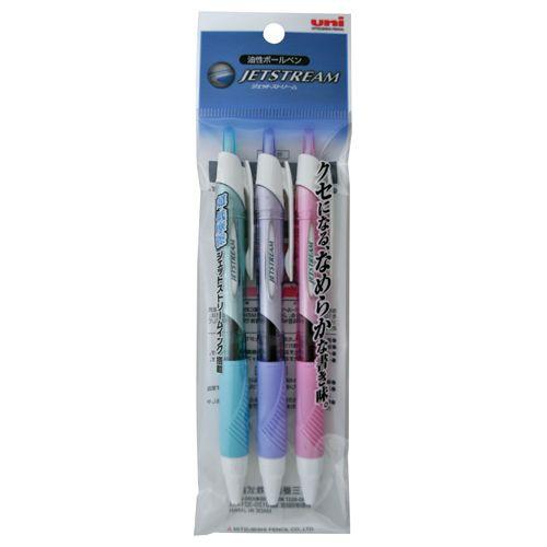 三菱鉛筆 油性ボールペン ジェットストリーム 0.5mm 黒カラー軸 アソート(3色各1本) 1パック