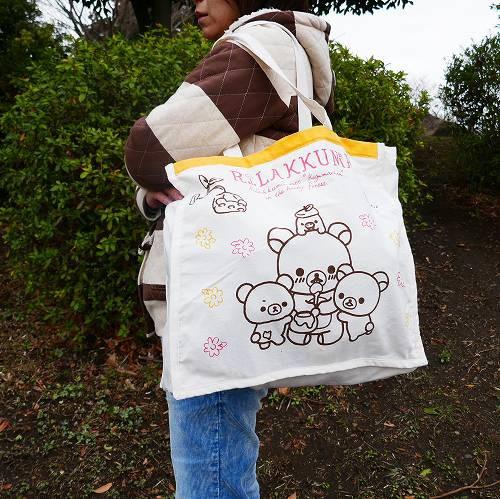 トートバッグ M リラックマ ML-703 訳あり アウトレット お買い物バッグ やや大きめ 大容量 ショッピングバッグ 折りたたみ キャラクター
