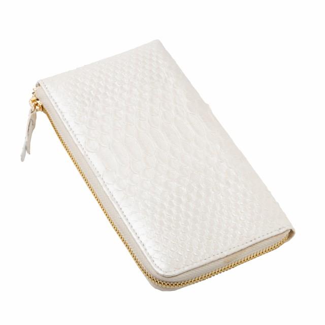 da502cfea8a0 Revetta ヘビ革 パイソンレザー L字型 長財布 パールホワイト 白 ラウンドファスナー 本