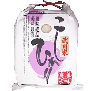 【送込】「A」受賞 29年産山梨県産武川米コシヒカリ 白米5kgx6袋