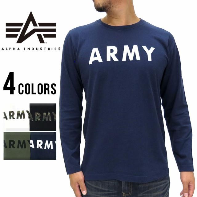 アルファ Tシャツ メンズ ARMY プリント 長袖 カットソー マルカワ ALPHA クルーネック ミリタリー ブランド アーミー Tシャツ  カットソの通販はWowma!