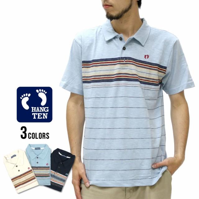 ハンテン ポロシャツ メンズ 半袖 スラブ パネル ボーダー ポロシャツ 半袖 マルカワ HANG TEN サーフ ブランド パネル ボーダー スラブの 通販はWowma!