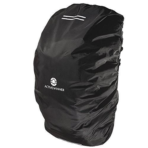Active Winner バックパック レインカバー 高耐久性 リュック 黒 ザックカバー 収納袋付き 撥水 雨よけ