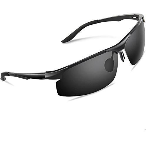 Torege 偏光レンズ スポーツサングラス 超軽量 アルミニウム・マグネシウム合金 UV400 紫外線カット スポーツサングラス/ 自転車/釣り