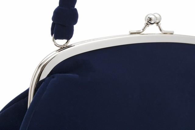 【成人式や卒業式におすすめながま口バッグ】紺/ネイビー/花/つまみ細工/ベルベット調/あとりえ座/和装/レトロ/モダン