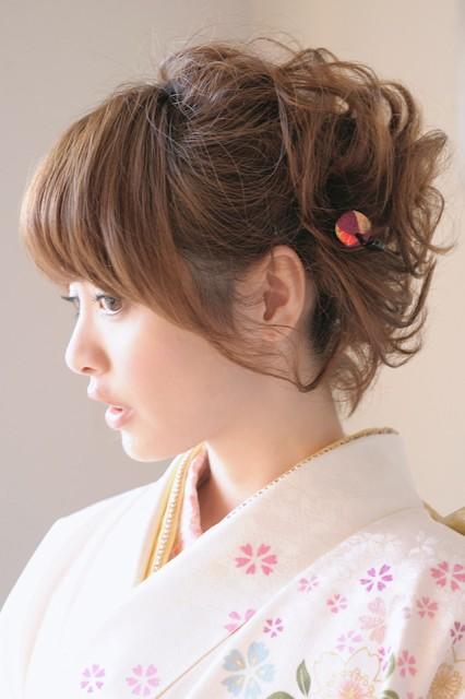 [成人式にオススメ!][縮緬地和柄フラワー髪飾り3点セット]紫/花/リボン/パールビーズ/振袖/成人式