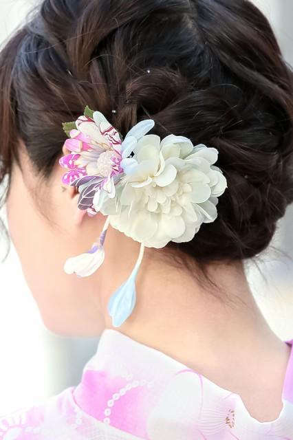 【浴衣にオススメ☆】[花の髪飾り]青/ガーベラ/和柄/浴衣/夏