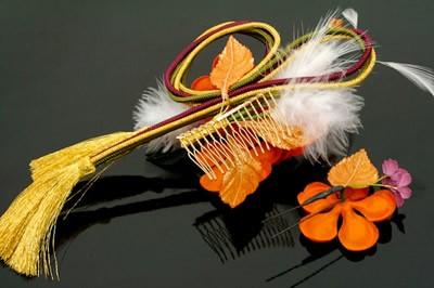 【華やかな花髪飾り♪】着物スタイルにオススメな髪飾り/お花/ファー/2個セット/狐色/成人式/振袖/卒業式/袴