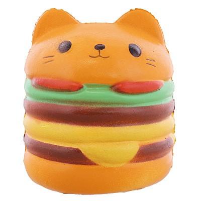 茶色/むにむにネコのハンバーガーオブジェ
