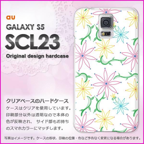 ゆうパケau GALAXY S5 SCL23 ハードケース/カバー 花(ピンク)/scl23-pc-new0044]