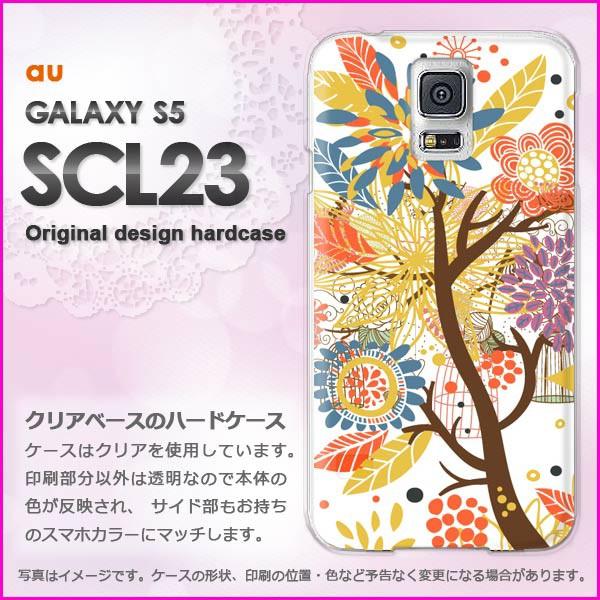 ゆうパケau GALAXY S5 SCL23 ハードケース/カバー 花(白)/scl23-pc-new1321]