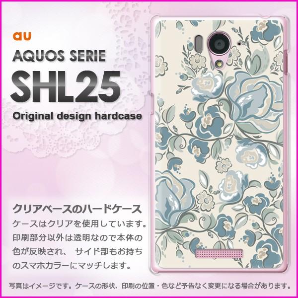 ゆうパケau AQUOS SERIE SHL25 ハードケース/カバー 花・バラ(ブルー)/shl25-pc-ne015]