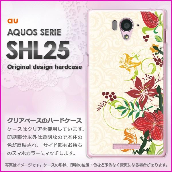ゆうパケau AQUOS SERIE SHL25 ハードケース/カバー 花(ベージュ)/shl25-pc-ne364]