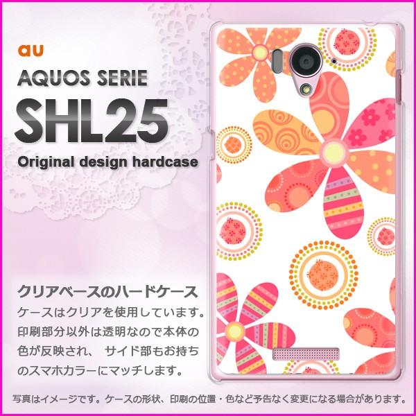 ゆうパケau AQUOS SERIE SHL25 ハードケース/カバー 花・レトロ(白)/shl25-pc-new1740]