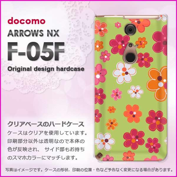 ゆうパケdocomo ARROWS NX F-05F ハードケース/カバー 花(グリーン)/f05f-pc-new1732]