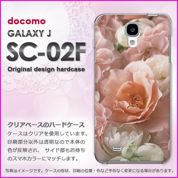 即納&docomo GALAXY J SC-02F(ギャラクシー) ハードケース/カバー 花・バラ(白・ピンク)/sc02f-pc-new0345]