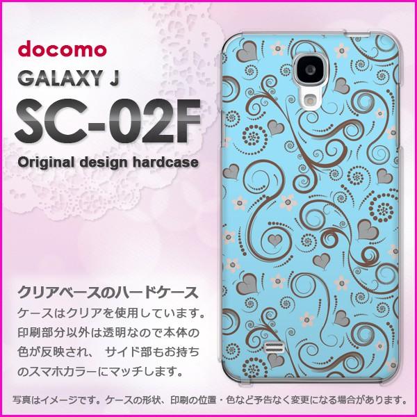 即納&docomo GALAXY J SC-02F(ギャラクシー) ハードケース/カバー 花・レトロ(ブルー)/sc02f-pc-new1696]