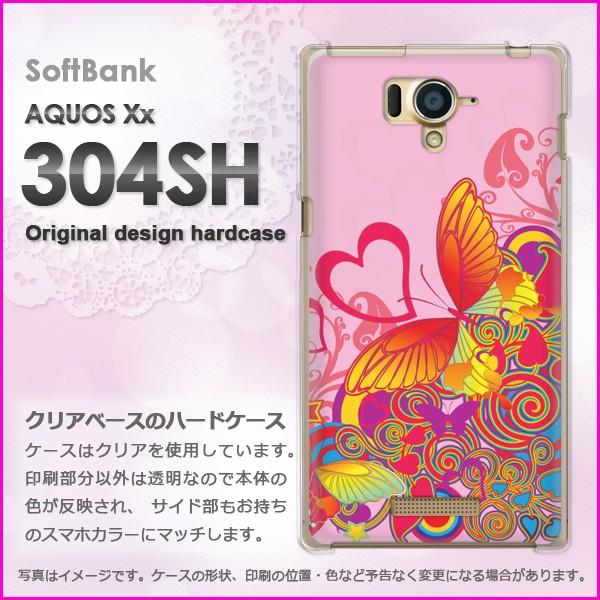 ゆうパケSoftBank AQUOS Xx 304SH ハードケース/カバー ハート・蝶(ピンク)/304sh-pc-new0576]