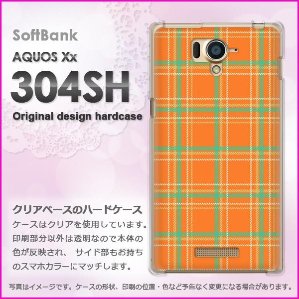 ゆうパケSoftBank AQUOS Xx 304SH ハードケース/カバー チェック(オレンジ)/304sh-pc-new0872]