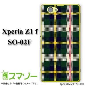 【docomo Xperia Z1 f SO-02F 専用】 スマホ カバー ケース (ハード) チェックニット グリーン