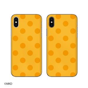 Apple iPhone X スマホ ケース ハード カバー アイフォンケース 水玉mkd オレンジ×イエロー