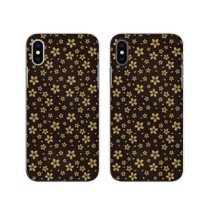 Apple iPhone X スマホ ケース ハード カバー アイフォンケース 和柄3 桜 黒