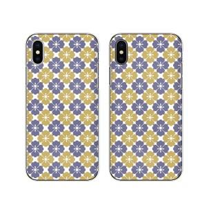 Apple iPhone X スマホ ケース ハード カバー アイフォンケース 和柄4 白 紫