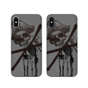 Apple iPhone X スマホ ケース ハード カバー アイフォンケース スカル6 海賊 黒 グレー