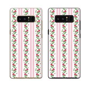 au Galaxy Note8 SCV37 スマホ ケース ハード カバー ギャラクシー ローズ13 レース ピンク