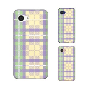 au AQUOS SERIE mini SHV38 / SoftBank AQUOS Xx3 mini 603SH 兼用 スマホ ケース カバー チェック2 紫/緑/黄色