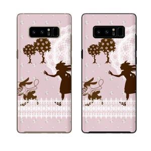 docomo Galaxy Note8 SC-01K スマホ ケース ハード カバー ギャラクシー アリスとウサギ 不思議の国1